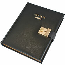 Hardback Black 5 Year Personal Diary Journal Organiser Planner Book With Lock