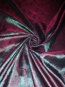 """1 Mtr Claret Red/Green Two Tone Self Print Paisley Jacquard Fabric 58"""" Lining"""
