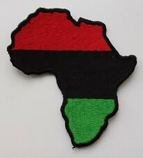 PAN-AFRICAN FLAG MAP PATCH Black Power Badge UNIA Jah Africa Red Black Green