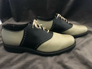 Vintage COLE HAAN Leather Oxford Two-Tone Cream & Black Saddle Shoes Size 8.5D