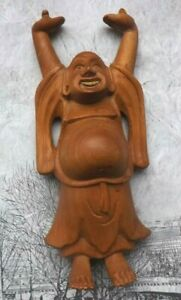 Wooden Buddha Carving Hand Carved Laughing  Hands Up Stained