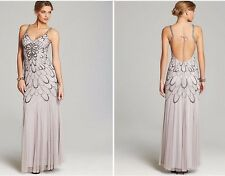 Adrianna Papell Heather Grey Beaded Backless Mesh Art Deco Gown NWT Size 14 $376