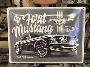 Ford Mustang 69 The Boss Embossed Sign Licensed