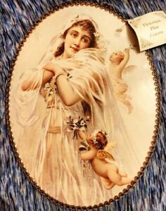 Vintage Flue Cover - Victorian Bride with Cherubs Glass Chain Border New W/Tags