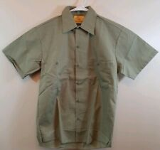 Vintage Sears Perma-Prest Green Button Front Work Shirt Polycotton Short Sleeve