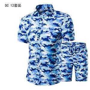 Summer Men's T-Shirt Shorts Set Short sleeve Beach Floral Pants Beach Leisure D