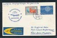 60878) LH FF München - Köln - New York 30.4.61, Karte ab Schweiz