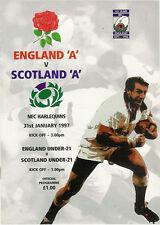 ENGLAND A v SCOTLAND A + UNDER 21 31 Jan 1997 RUGBY PROGRAMME at NEC HARLEQUINS