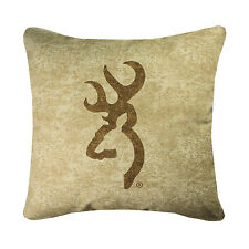 BROWNING BUCKMARK TAN DECORATIVE BEDDING LOGO PILLOW - DEER BEDDING