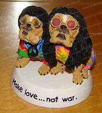 MAKE LOVE ... NOT WAR (Zelda Wisdom by Westland, 4898) Tie Dye Bulldog, Hippy