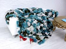 DE LUXE VRAI RENARD Throw Blanket Turquoise-Blanc 230 Cm x 200 cm, i058