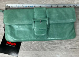 HOBO INTERNATIONAL Distressed Leather Ivy Green Clutch Wristlet with Buckle