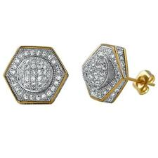 Bling Earrings Iced Out Ear Jewelry Hip Hop Domed Hexagon Gold Cz Bling