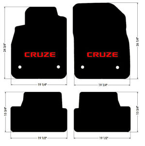 NEW! BLACK FLOOR MATS 2010 - 2014 Chevy Cruze with Red Embroidered Logo Set of 4