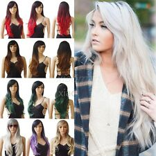 FREE Post Long Hair Wigs Heat Resistant Ombre Full Head Wig Real Natural Look #T