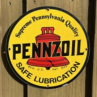 VINTAGE PENNZOIL OIL PORCELAIN METAL SIGN USA RED BELL PA GAS STATION PUMP PLATE