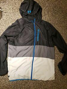Men Under Armour Lightweight Full Zip Hoodie Jacket Windbreaker L loose fit