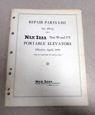 New Idea Nos. 90 & 175 Portable Elevators Repair Parts List Manual 1959 PE-32