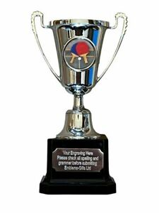 Table Tennis Silver Moment Cup Sports Award Trophy E) ENGRAVED FREE