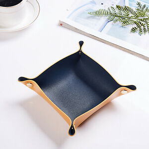 Deluxe Genuine Leather Valet Tray Double Sided Desktop Organizer Storage Boxs~
