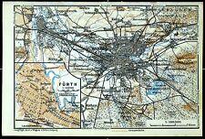 NÜRNBERG + FÜRTH, alte farbige Landkarte/Stadtplan, datiert 1913