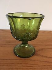 Vintage Indiana Glass Avocado Green Grape Pattern Paneled Footed Compote