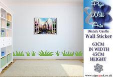 DISNEY CASTLE Wall Sticker bambini Camera da Letto 3D effetto finestra parete arte murale decalcomania.