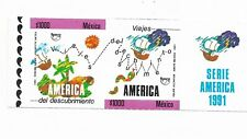 MEXICO 1991 UPAEP 91 DISCOVERY OF AMERICA STRIP OF 2 PLUS LABEL IMPERFORATED