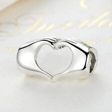 Elegant 925 Sterling Silver Closed Love Hand Heart Charm