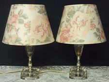 Pair Vintage Crystal Glass Boudoir Bedroom Vanity Lamp w/ Floral Shades