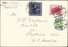 Austria - 1931 - 3 Stamp Multi-Color Franking to Fostoria, Ohio, USA  Nice Cover