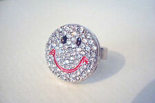 BNWOT Silver Tone Clear Diamante Smiley Face Statement Ring Size P