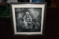 Eunice H. Packer Signed Etching  Aquatint Old Woman Cutting Flowers Artist Proof
