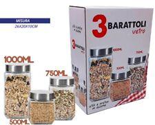Set 3 Tris Barattoli Vetro Con Coperchio Metallo Contenitori Pasta Biscotti dfh