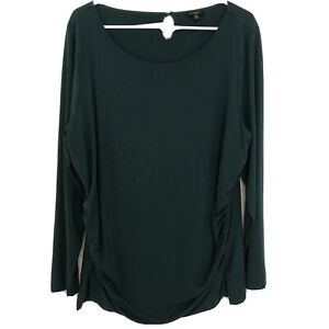 TALBOTS WOMEN'S Hunter GREEN LONG SLEEVE STRETCHY TOP PLUS Size 2X Ruched
