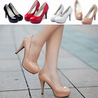Women Ladies Office Round Toe Stiletto High Heel Platform Pumps Working Shoes E