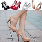 Women's Patent Leather Round Toe Stiletto High Heel Platform Pumps Working Shoes