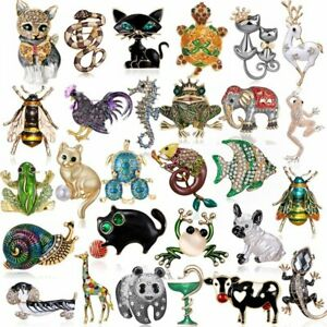 Charm Crystal Animal Bee Insect Cat Dog Frog Collar Brooch Pin Women Jewelry Hot