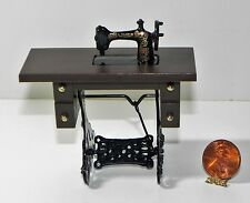 Dollhouse Miniature Treadle Sewing Machine Antique Style on Stand 1:12 Scale