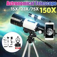 150X 70mm Aperture Astronomical Telescope Refractor Tripod Finder For Beginner