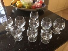 Collection of 9 Clear Glass Brandy/Cognac Glasses Three sizes
