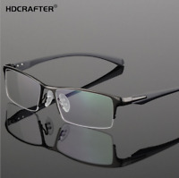 Men Metal Business Optical Glasses Half Frame Square Myopia Glasses Frames New