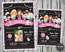 FAIRY INVITATION CARD PERSONALISED WOODLAND GARDEN FAIRIES BIRTHDAY PARTY PHOTO
