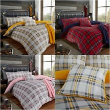 Teddy Fleece Highland Check Luxury Duvet Cover Set Cosy Warm Soft Bedding Set GC