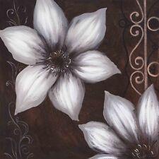 Wand Bild A. S. Botanik Blumen Blüte Malerei Braun 49x49x1,2 cm A5FU