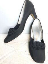 Vintage Women's 8.5 8 1/2 Aaa Carlton Originals Black Pumps Lace Doily 1950s 60s