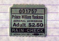 May 23, 1987 Prince William Yankees Rain Check
