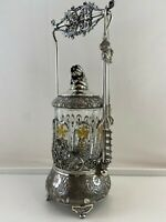 Antique Victorian Silver Plate Floral Design Pickle Jar & Castor with Tongs