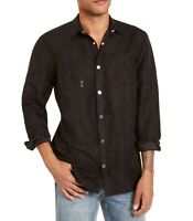 INC Mens Shirt Jet Black Size Medium M Snap Button Down Faux Suede $79 204