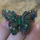 """Vtg Art Deco Fruit Salad Pave Glass Rhinestone Butterfly Brooch Pin FLAW 1.5"""" ST"""